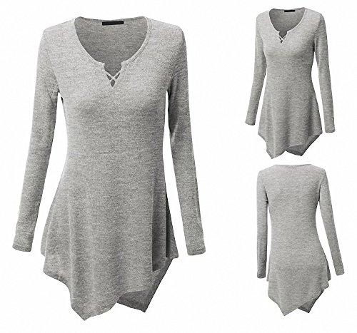 Aileese tops mujer Camisa vestido de su casual manga larga informal EE8q41