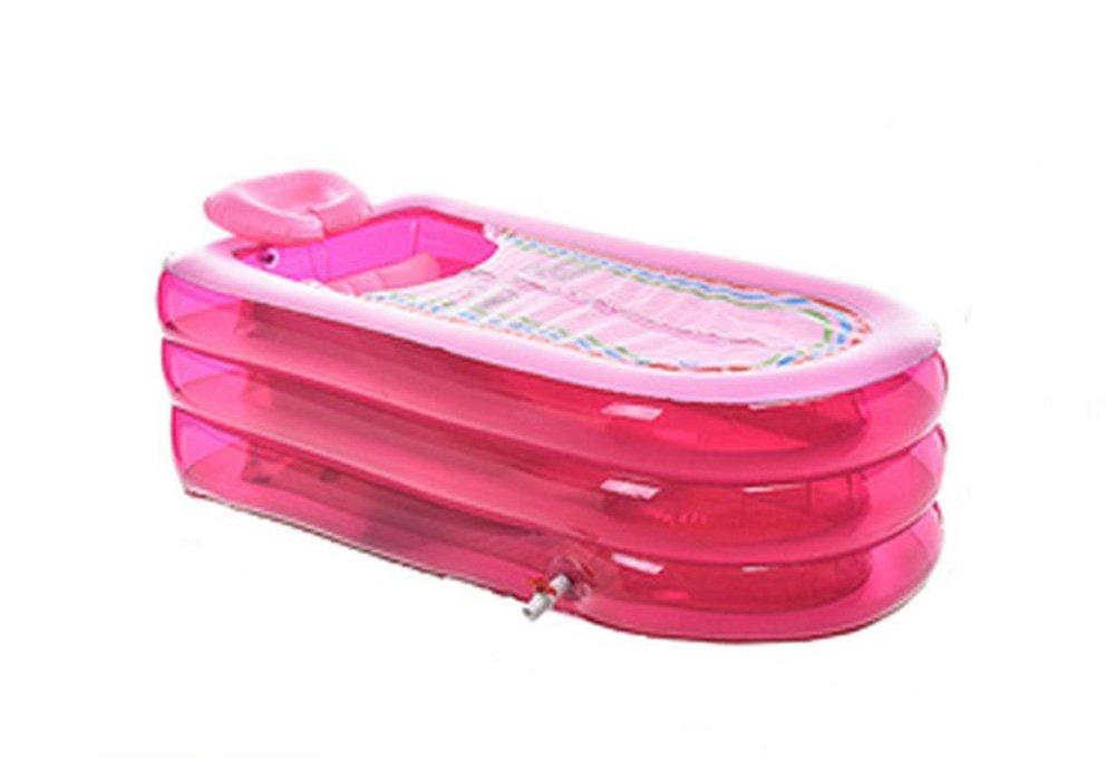 Inflatable Bathtub Plastic Luxury Inflatable Thickening Folding Portable Comfort Bathtub Adult Bathtub Bathtub Outdoor Swimming Pool/Blue/Pink (Color : Pink)