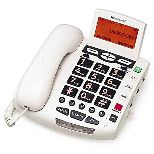 ClearSounds CSWCSC600 Ultraclear Amplified Landline Speakerphone with Talking Features and Caller ID - White (Display Speakerphone)
