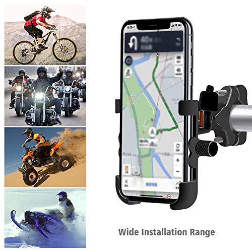 Everrich Rotary Motorcycle Handlebar Phone Holder USB Charger - Car Phone Holder - for iPhone Xs MAX/XR/XS/X / 8 / 8Plus, Galaxy S10 / S10 + / S10e / S9 / S9 + / N9 / S8, Google, Huawei, etc.