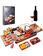 Hecef Acacia Wood Cheese Board Set, Square Cheese Platter with 2 Slide-Out Drawers& Cutlery Set& Snack Plates& Marble Cheese Slate, Perfect Charcuterie Board for Serving Appetizers and Fruits (Black)
