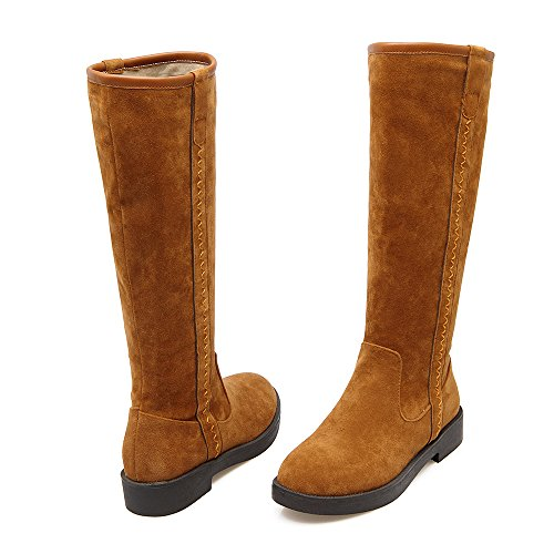 Warm Boots Knee Womens High Brown AIWEIYi Shoes Snow Faux Boots Suede Strappy Fur qzRR0pOw