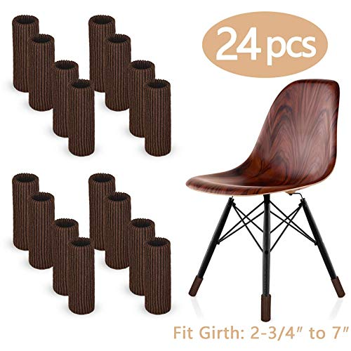 LimBridge 24pcs Chair Socks, Elastic Wood Floor Furniture Chair Leg Feet Protectors Covers Caps Set, Fit Girth From 2-3/4