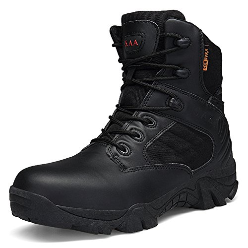 Gomnear Hommes Combat Botte Armée Militaire Tactique Bottes Desert Duty Travail Chaussures avec Fermeture Éclair Latérale Noir Ia6Fea