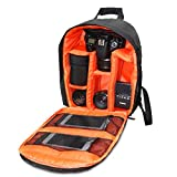 Alonea Camera Bag Backpack Waterproof DSLR Case With Carabiner For Canon (Orange)