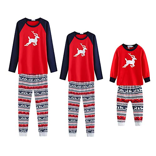 ICTOLOGY Christmas Family Pajama Set Reindeer Matching Striped Print PJS Sets for Mom Dad Kid (Dad, Small)
