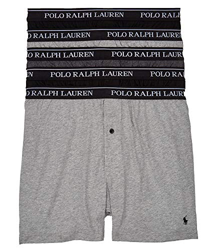 POLO RALPH LAUREN Men's Classic Fit w/Wicking 5-Pack Boxers 2 Andover/1 Madison/2 Black Large (Boxers Polo Ralph Lauren)
