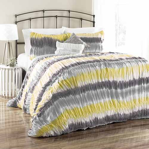 Lush Decor 5 Piece Bloomfield Tie Dye Comforter Set, Full/Queen, Yellow/Gray