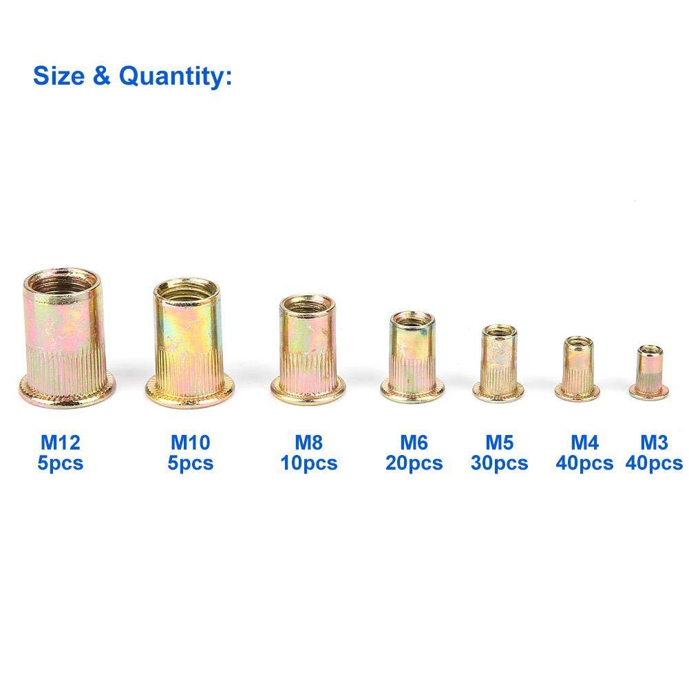 M12 Flachkopf-Blindnietmutterneinsatz-Nietmutter aus Kohlenstoffstahl M10 M3 M5 Nietmutter M4 150 Stk M8 M6