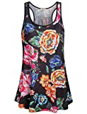 Miusey Floral Tank Top Girl Crew Neck Cami Sleeveless Casual Racerback Ultra Light Slouchy Athletic Activity Loose Fitting Gym Workout Clothes Black XL