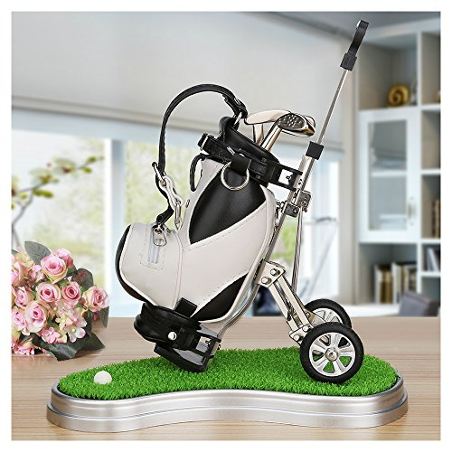Golf Gifts Golf Pens and Bag Holder with 3 Aluminum Pens, Mini Golf Decorations for Office Desk, Novelty Unique Birthday or Christmas Present for Golf Fans,Family,Coworker(black/white - green base)