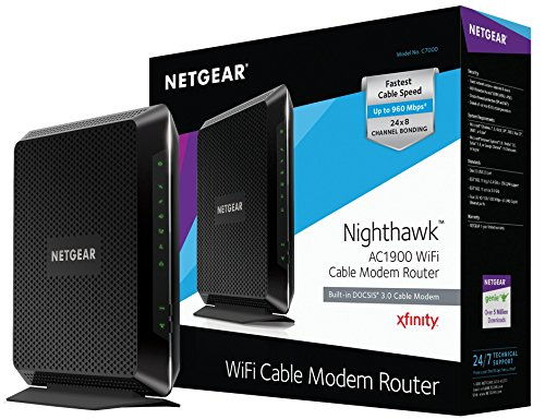 NETGEAR Nighthawk AC1900 (24x8) DOCSIS 3.0 WiFi Cable Modem Router Combo (C7000) Certified for Xfinity from Comcast, Spectrum, Cox, & more Black Box Cable Modems