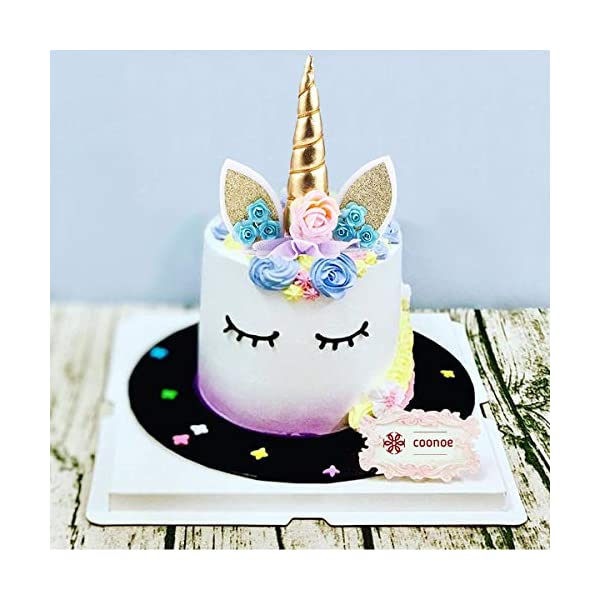 Unicorn Cake Topper,COONOE Handmade Party Cake Decoration Supplies with Eyelashes,Reuasble Gold Horn for Birthday Party,Baby Shower&Wedding 5