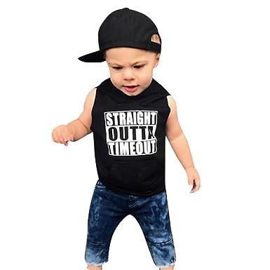 51389021caa WARMSHOP Baby Little Boys Sleeveless Letter Printed Hooded Vest Tops+Denim Pants  Set Summer Casual