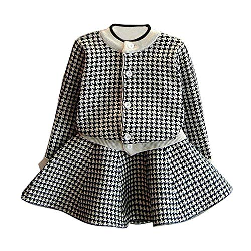 C&M Wodro Girls Dress, Autumn Winter Toddler Kids Plaid Knitted Sweater Dress Set Baby Girls Coat Tops+Skirt Set (Black, Size 13 (5-6 Years))