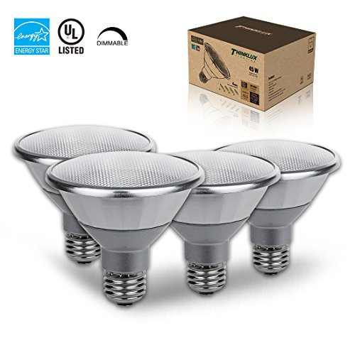 Thinklux PAR30 Dimmable LED Bulb Wet/Outdoor Rated, High 90+ CRI, 13W (75W equivalent), 2700K (Soft White), Short Neck, Spot Light Bulb, 25° Beam Angle, Medium Base (E26), ENERGY STAR (Pack of 4)