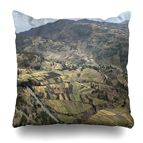 Ahawoso Throw Pillow Cover Square 16x16 Nature Cornfields Near Lalibela Ethiopia Africa Steppe Farming Field Meadow Prairie Savannah Design Zippered Cushion Case Home Decor Pillowcase