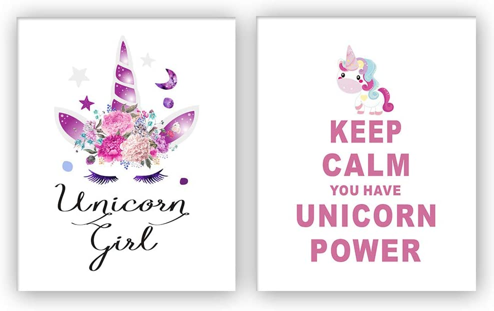 """HOME_PLAY Unicorn Art Print Set of 2 (10""""X8""""Keep Calm You Have Unicorn Power Art Print, Unicorn Gift for Girls,Canvas Painting Posters and Prints Wall Pictures for Kids Room Home Decor,No Frame"""