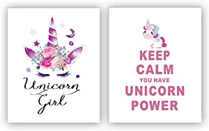 "HOME_PLAY Unicorn Art Print Set of 2 (10""X8""Keep Calm You Have Unicorn Power Art Print, Unicorn Gift for Girls,Canvas Painting Posters and Prints Wall Pictures for Kids Room Home Decor,No Frame"