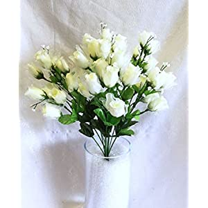 70 Mini Roses Buds CREAM IVORY Silk Wedding Flowers Centerpieces Bouquet NEW 24