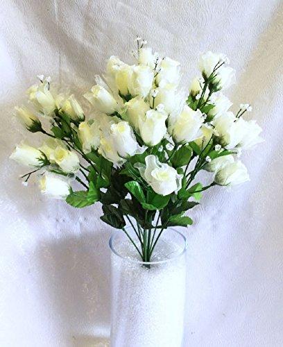 70 Mini Roses Buds CREAM IVORY Silk Wedding Flowers Centerpieces Bouquet NEW