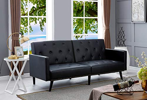 Naomi Home Convertible Tufted Futon Sofa Black/Faux Leather (Sofa Euro Design Leather)