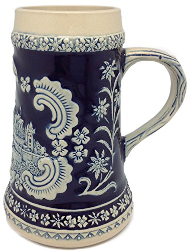 Bavarian German Castle Engraved Ceramic Beer Stein
