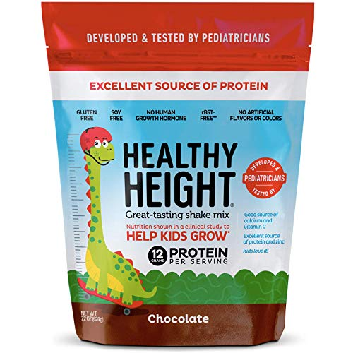 Healthy Height Kids Protein Shake Mix (Chocolate). Great Tasting and Doctor Developed Nutritional Drink that Helps Kids Grow with 12 g Protein, Vitamin C and Zinc. Gluten-Free and Soy-Free. 21 oz Bag