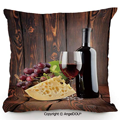 AngelDOU Pillow Cotton Linen Cushion,Red Wine Cabernet Bottle and Glass Cheese and Grapes on Wood Planks Print Decorative,Coffee Shop Restaurant Sofa Company Gifts.23.6x23.6 inches ()