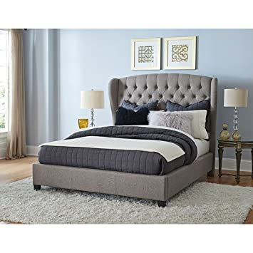Elegant Orly Gray Fabric Upholstered Bed (Queen: 82 In. L X 70.5 In.