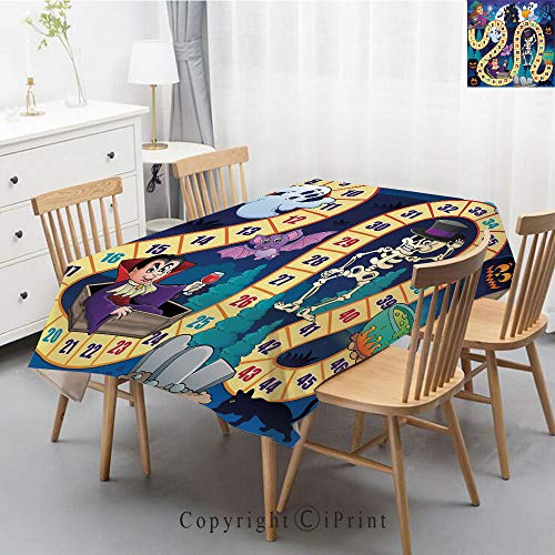 Natural Cotton Linen Rectangle Tablecloth Garden Botanic Print Pattern Country Rustic Village Burlap Table Cover Cloth Art,40x60 Inch,Board Game,Halloween Theme Symbols Happy Witch Girl Vampire Ghost