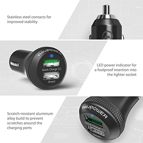 Quick-Charge-30-RAVPower-36W-Dual-USB-Car-Charger-Adapter-for-Galaxy-S8-S7-S6-Edge-Plus-Note-5-4-and-iSmart-for-iPhone-8-7-6s-Plus-iPad-mini-HTC-and-More-Upgrade-Version