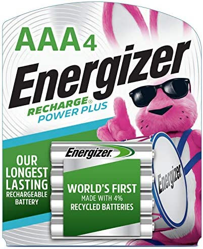 Energizer Rechargeable AAA Batteries, NiMH, 800 mAh, Pre-Charged, 4 depend (Recharge Power Plus)