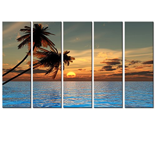 Tropical-Landscape-Canvas-Wall-ArtSea-Canvas-Prints-Wall-Decal8x24x5pcsPalm-TreesSea-Seascape-Picture-Decor-Art-Framed-on-WoodEasy-Hanging-On