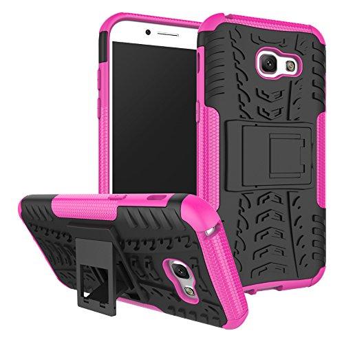 OFU®Para Samsung Galaxy A5 (2017) 5.2 Smartphone, Híbrido caja de la armadura para el teléfono Samsung Galaxy A5 (2017) 5.2 resistente a prueba de golpes contra la lucha de viaje accesorios esencial Rose Red