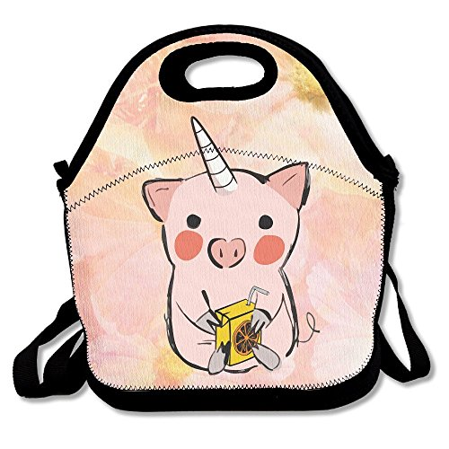 Cute Cartoon Unicorn Pig With Orage Juice Waterproof Lunch Tote Bag Insulated Reusable Picnic Lunch Boxes For Men Women - Bags Flat Cartoon