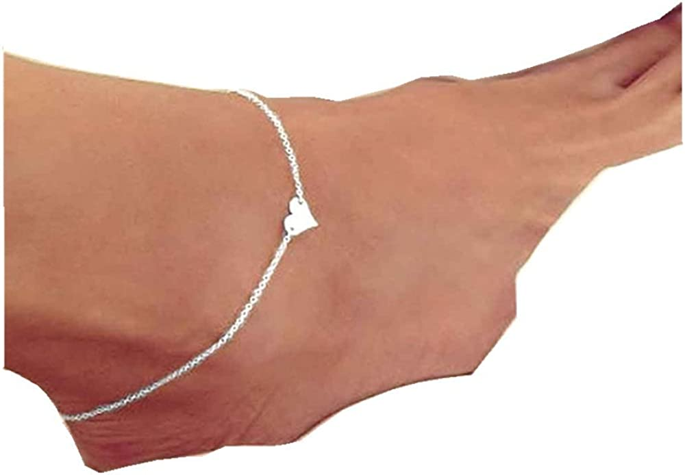 FEITONG Womens Fashion Simple Heart Anklet Ankle Bracelet