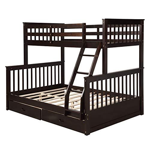 ALI VIRGO Wood Twin Over Full Bunk beds, with 2 Storage Drawers, Sturdy Wooden Frame Two Cot Ladder and Safety Rails Convenience Guest Stay, Espresso