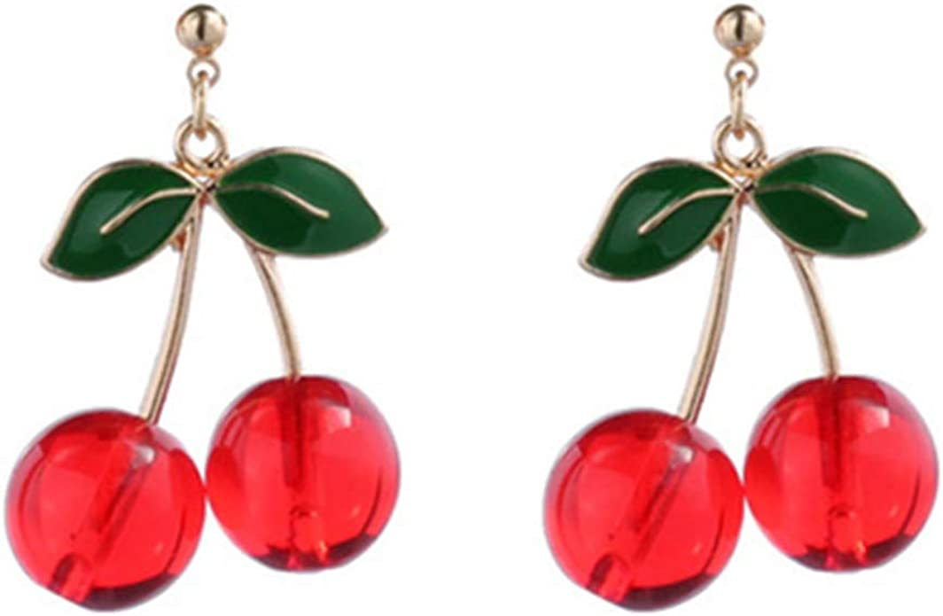 Buyless Fashion Girls Cherry Dangle Hoop And Long Earrings Red Fruit Green Leaf