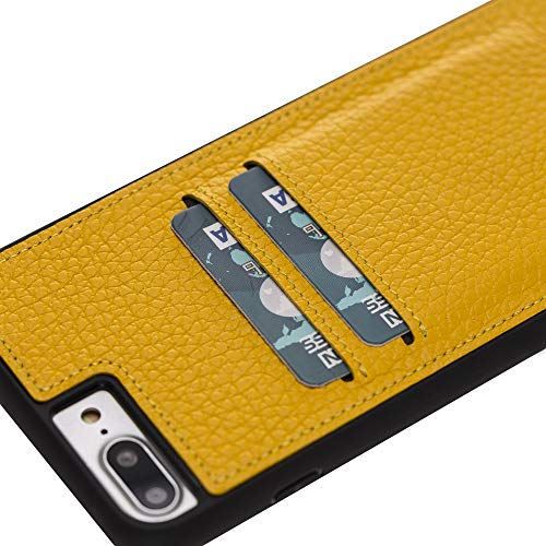 Venito Cosa iPhone 8 Plus / 7 Plus Leather Case, Snap-On Back Cover with Credit Card Slots for iPhone8Plus / 7Plus | Slim and Lightweight | Handcrafted Premium Full Grain Leather (Yellow)