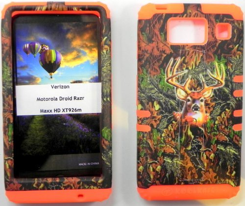 Combo Pack Hybrid 2 in 1 Case Hard Cover Faceplate Skin Orange Silicone and Camo Deer Snap Protector for Motorola Droid Razr Maxx HD XT926M by Verizon with Mossy Oak Camo Earpiece, Microfiber Cleaning Cloth, Touch Pen and Earpiece Winder (Not for Droid Razr Maxx)