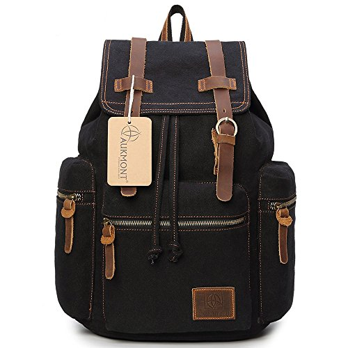 (Canvas Backpack Vintage Rucksack Hiking Travel Outdoor Shouder bag Carry Case Black #220)