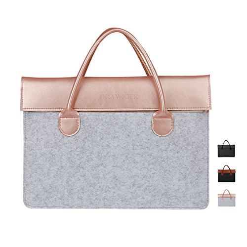Drawiger Wool And Leather Laptop Bags Sleeves Slim Bag Briefcase For Women Macbook Air/Pro Ultrabook Tablet Document File Storage 15 inch Pink