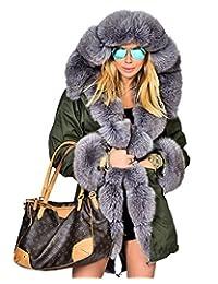 Roiii Women's Faux Fur Winter Thick Coat Long Hood Parka Jacket Outdoor Outwear