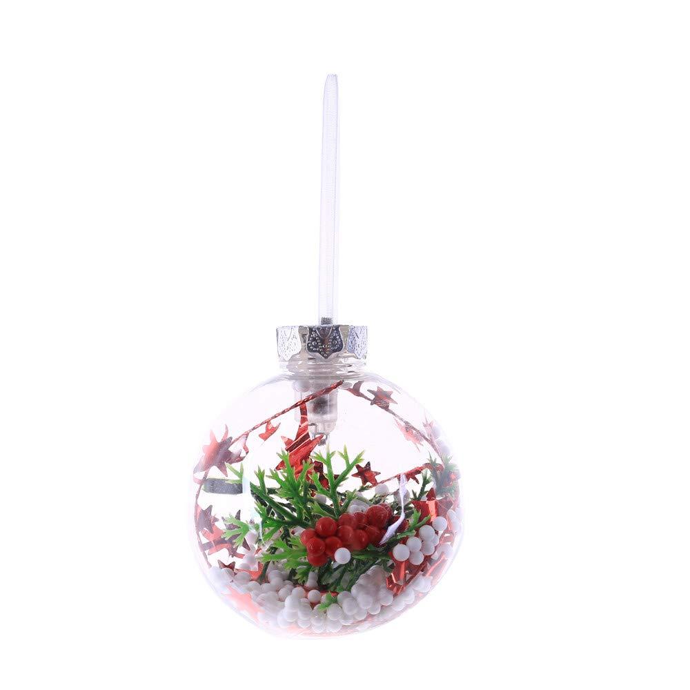 MomeChristmas Light Ball1PC Santa Claus/Flower Glowing Ball  Xmas Tree Hanging Ornament for Hotel, Luxury Restaurant, Perimeter Buildings, Mansion Luminous Pendant Gift (B)