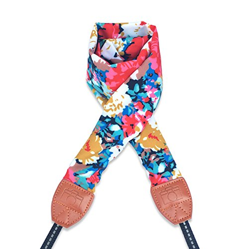 LONGTEAM Camera Strap, Super Comfortable Scarf Camera Strap, Universal Camera Neck Shoulder Belt for All DSLR Camera Nikon Canon Sony Pentax (Flowers) (True Floral Case)