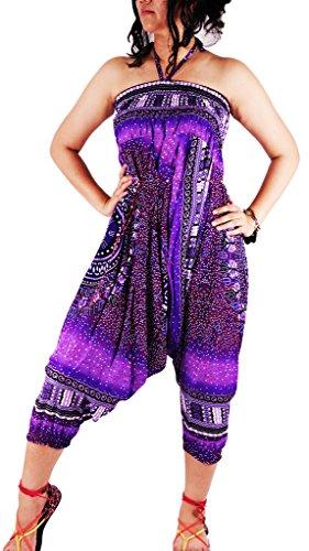 authenticasia-dashiki círculo Collection- 2en 1pantalones de harén y mono DAC-04 Purple
