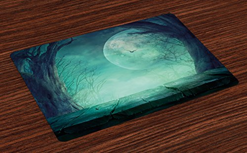 Ambesonne Halloween Place Mats Set of 4, Spooky Teal Forest Moon and Vain Branches Mystical Haunted Horror Rustic Imagery Print, Washable Fabric Placemats for Dining Room Kitchen Table Decor, (Haunted Forest Halloween Ideas)