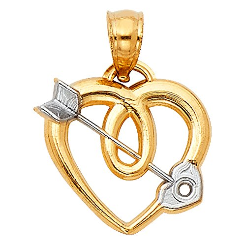 (Solid 14k Yellow White Gold Cupid Arrow Heart Pendant Love Charm Polished Fancy Two Tone 15 x 15)