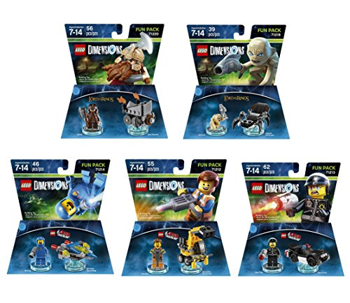 Lego Racers Ring (The Lego Movie Benny + Emmet + Bad Cop + The Lord Of The Rings Gimli + Gollum Fun Packs - Lego Dimensions (Non Machine Specific))